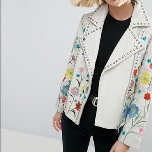 ASOS embroidered biker jacket